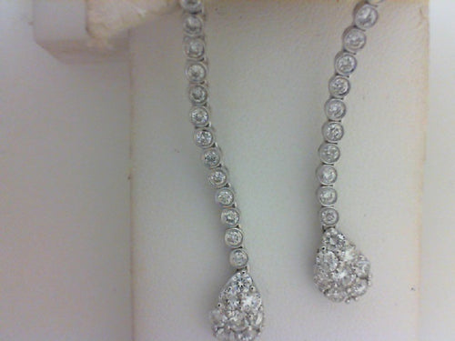 18KT WG 1.97CTTW  44 RD DIA DANGLE EARRINGS