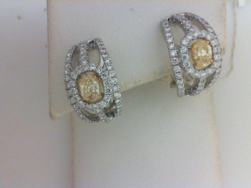 18KT WG/YG .57CTTW 2 OVLYEL DIA / 1.33CTTW - 124 RD DIA  EARRINGS