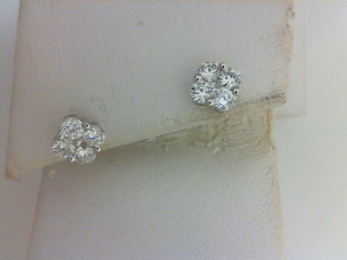 18KT WG .84CT TW - 8 RD DIA / 2 - PC DIA EARRINGS