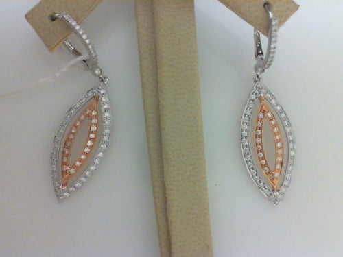 18KT W/RG .80CT TW - 128 RD DIA DANGLE EARRINGS