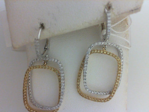 18KT W/YG .50CT 96-YELDIA / .61CT  122-RD DIA DANGLE EARRINGS