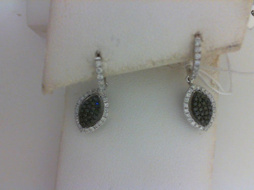 18KT WG .28CTTW 44 BLK DIA / .44CTTW 62 RD DIA DANGLE EARRINGS