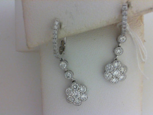 18KT WG 1.60CTTW  42 RD DIA FLOWER DANGLE EARRINGS