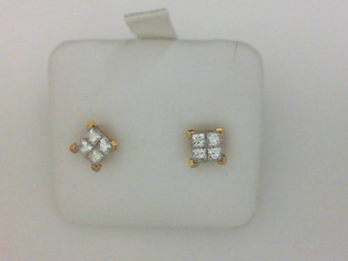 .74CT TW 14KT YG 8 PC DIAMOND STUD EARRINGS