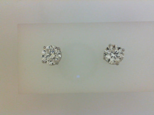 2.00ctw (B) 14kt wg DIAMOND STUDS 4 prong earrings