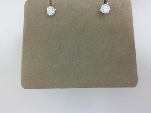 HOF 18KT WG .70CT TW DIAMOND 3 PRONG SET EARRINGS