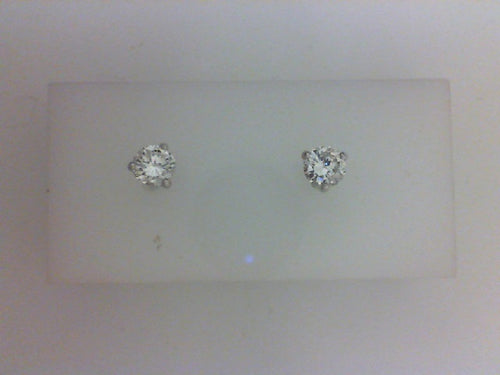14KY WG ..26CTTW RD DIA 3 PRONG STUD EARRINGS 