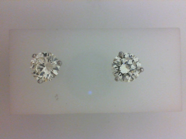 14KT 3.30CTTW RD K VS2  3 PRONG DIA EARRING