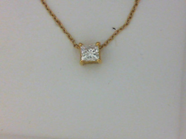 18KT YG 1 3CT PC DIA SOL PEND W CHAIN
