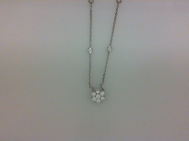 18KT WG .80CTTW RD DIA FLOWER NECKLACE