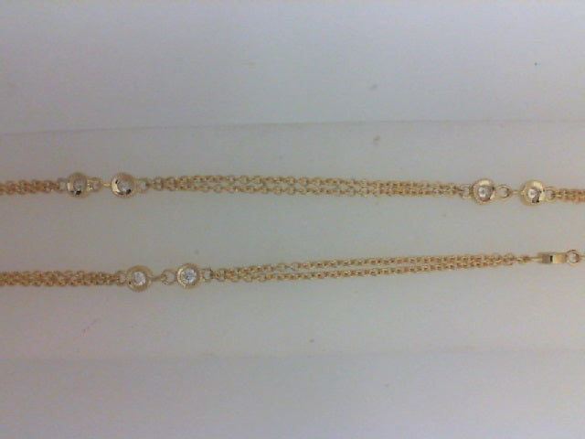 14KT YG 16 RD .27CTTW DIA BY THE YARD DBLE STRAND CHAIN