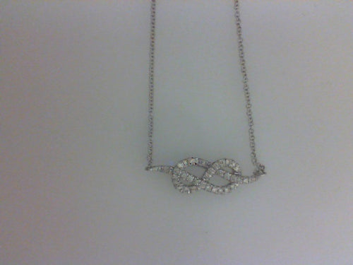 14KT WG .30CTTW TWISTED DIA NECKLACE