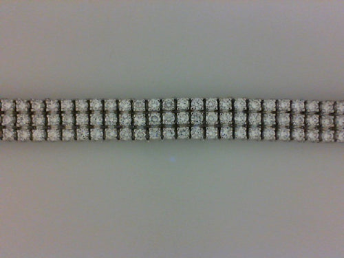 14KT WG 9.74CTTW 3 ROW DIAMON BRACELET
