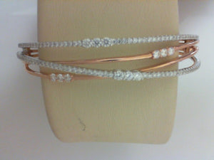 18K WG/RG 1.49CTTW RD DIA BANGLE