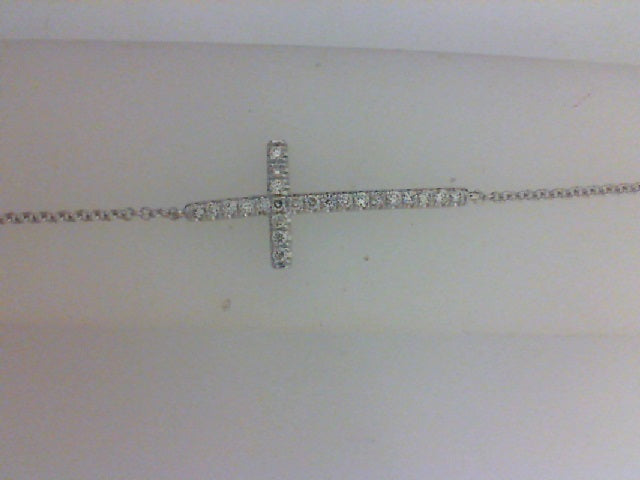 14KT WG .21CTTW DIAMOND CROSS BRACELET