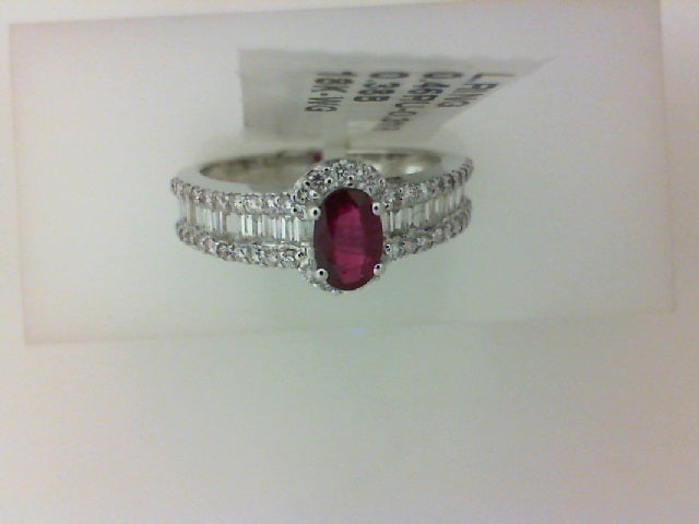 18KT WG .48CT RUBY W 50 RD DIA .31CTTW/ 22 BAG DIA .38CTTW