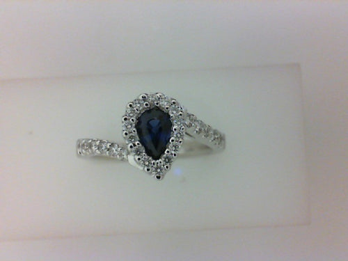 14KT WG .35CTTW RD DIA W .59CT PS SAPH RING