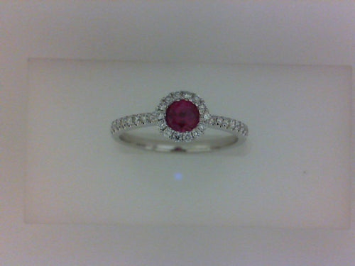 14KT WG 30 RD DIA .17CTTW W 1 RD RUBY .31CT RING
