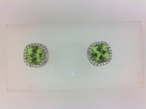 14KT WG 48 RD DIA .15CTTW 2 PERIDOT 1.79CTTW EARRINGS