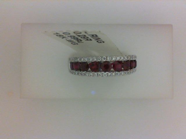 18KT WG .62CTTW 64 RD DIA W 1.04 CTTW 5OVL RUBY BAND
