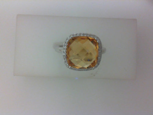 14KT WG 4.21CT CITRINE W .11CTTW RD DIA RING