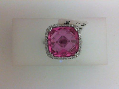 14KT WG 44 RD DIA .11CTTW WITH  CREATED PINK SAPH 9.35CT