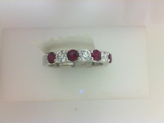 18KT WG .35CTTW 3 RD DIA W .50CTTW 4 RUBY BAND