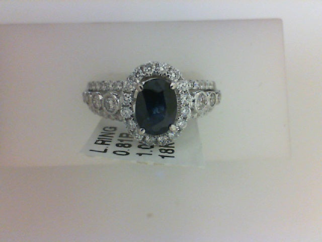 18KT WG 1.02CT OVL SAP W .81CTTW 74 RD DIA RING