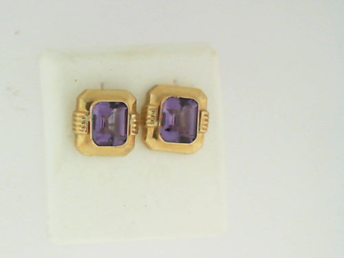 AMETHYSTOMEGA BACK EARRINGS