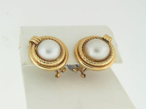 14KT YG MABE PEARL EARRINGS