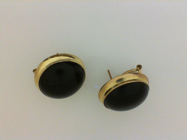 18KT YG BUTTON ONYX EARRINGS
