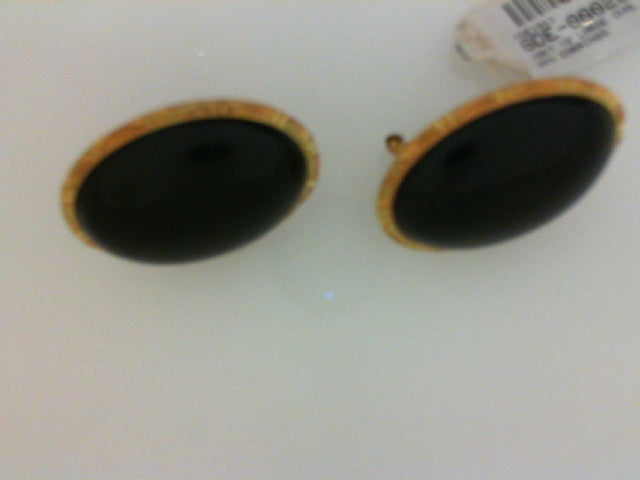 18KT YG LARGE OVAL ONYX EARRINGS