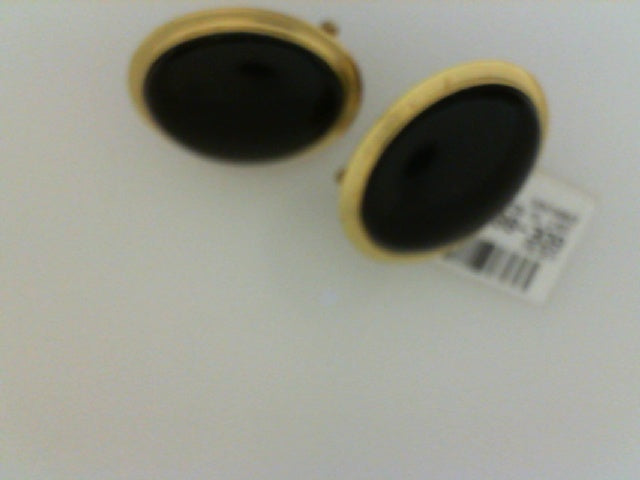 18KT YG MED BLK ONYX EARRINGS