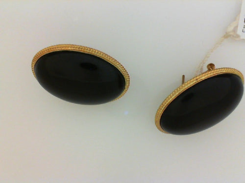 18KT YG LARGE OVAL BLK ONYX EARRINGS