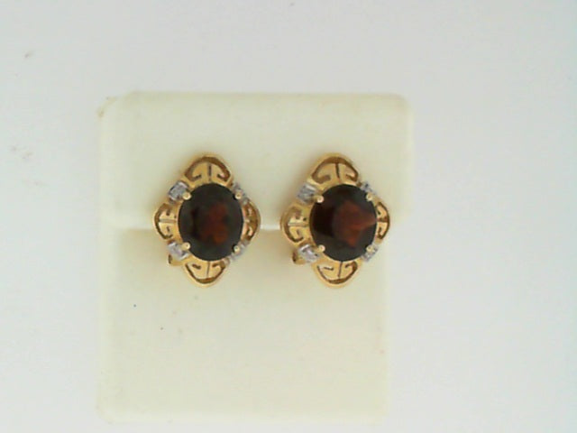 14KT YG GARNET DIA EARRINGS