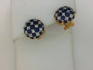18KT YG SAPHR DIA CHECKERBOARD EARRINGS