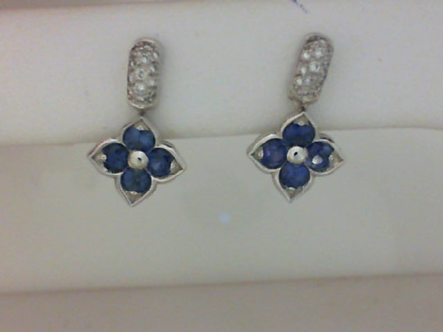 PLAT .11CT TW DIA SAPHIRE EARRINGS