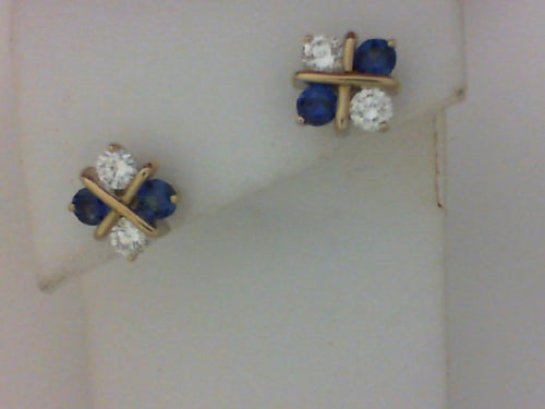 18KT WG SAPHIRE DIA EARRINGS CHECKERBOARD