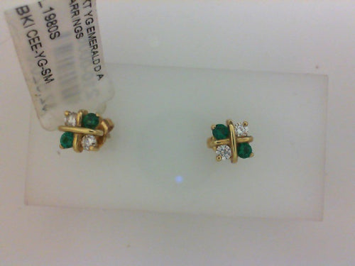 18KT YG EMERALD DIA EARRINGS