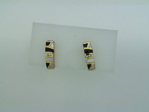 14KT YG BLK ONYX MOP .07CT DIA EARRINGS