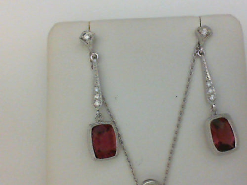 18KT PK TOUR & DIA ANTIQUE STYLE DANGLE EARRING