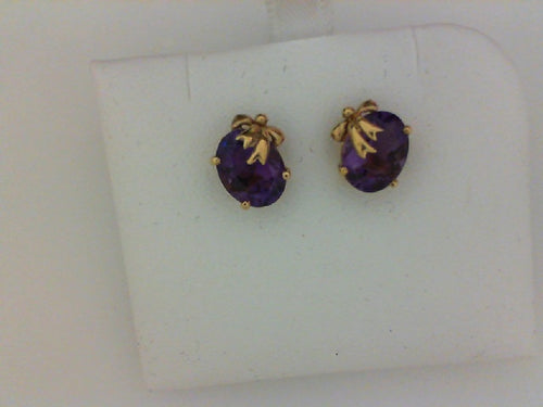 14KT YG AMETHYEST W GOLD BOWS EARRINGS