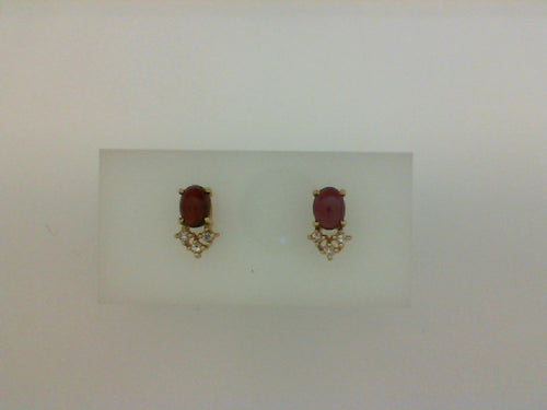 14KT YG RHODLITE GARNET DIA EARRINGS