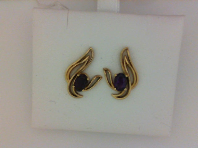14KT YG OVAL AMETHEYST EARRINGS