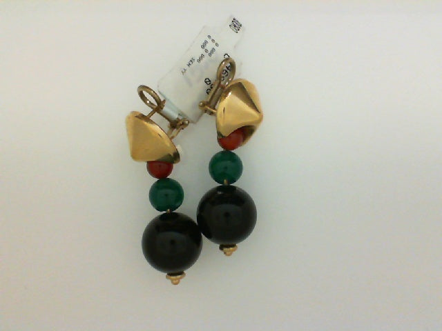 14KT YG GRAD AGAT RED GREEN BLK BALL EARRINGS
