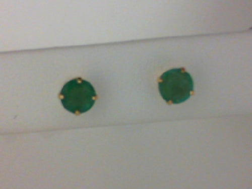 14KT YG 5MM EMERALD STUD EARRINGS