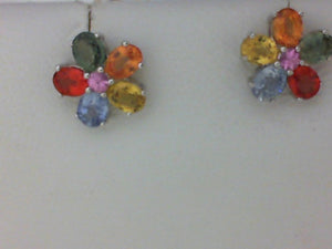 14KT WG MULTI-COLOR SAPPHIRE POST EARRINGS