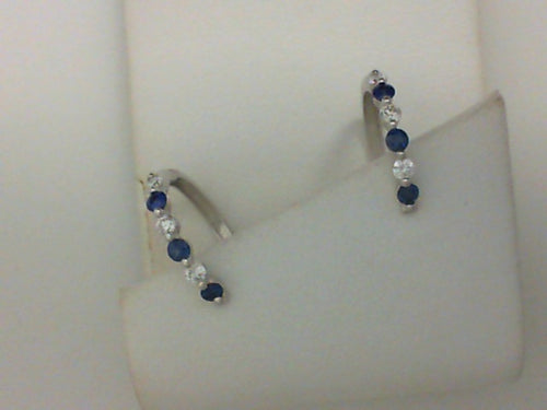 14KT WG 6RD .22CTTW RD DIA W 6 RD .33CTTW SAPH EARRINGS