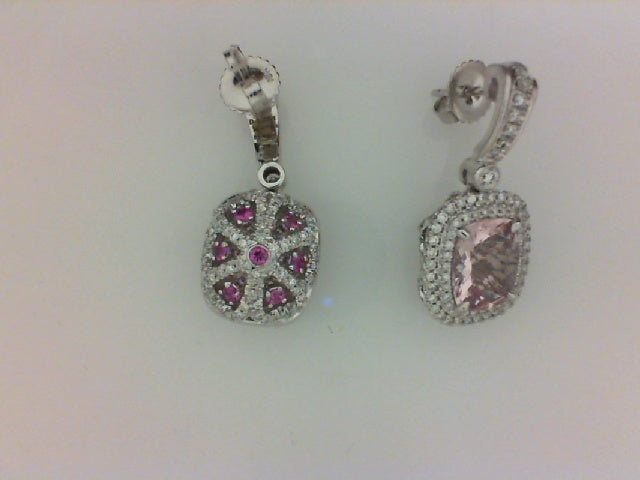 18KT PASTEL EARRINGS 294 RD DIA 1.30CTTW HI-VS2-SI1 14 PNK SAPH .55CTTW 2 10X8MM CUS MORGANITE 4.69CTTW