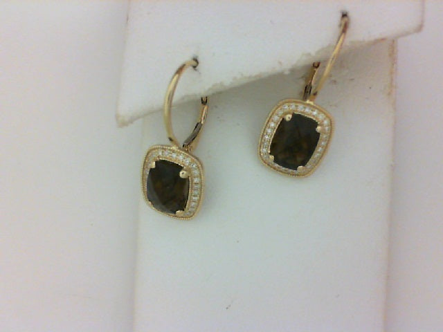 14KT YG 56 RD DIA .15CTTW 2 SMOKEY TOPAZ4.39TTW EARRINGS